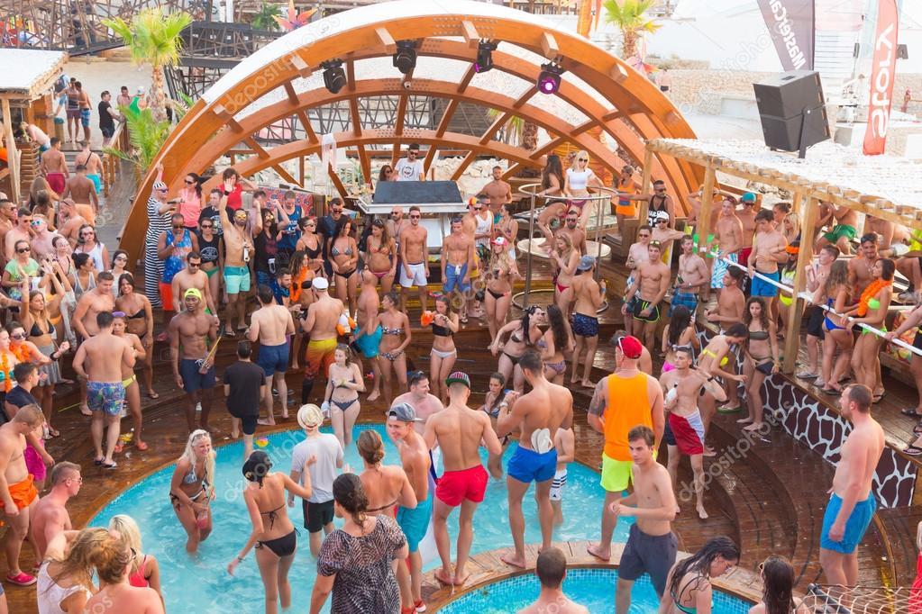 Party On Zrce Beach Novalja Pag Island Croatia Stock