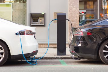 Electric Cars in Charging Station.