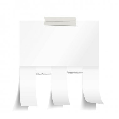 Blank white paper with tear off tabs