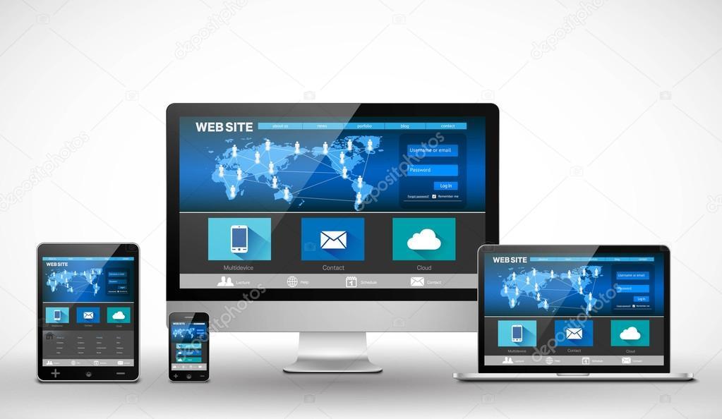 Diseño de plantilla receptivo vector web — Vector de stock ...
