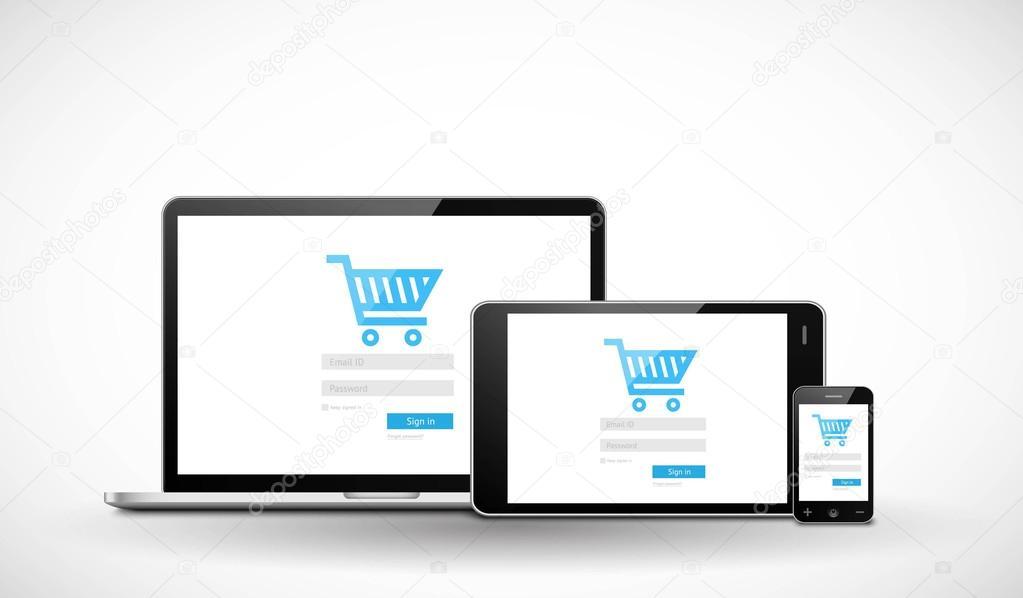 Plantilla web comercio electrónico sensible — Vector de stock ...
