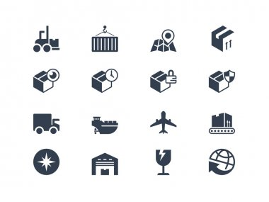 Logistic and shipping icons. Lyra series