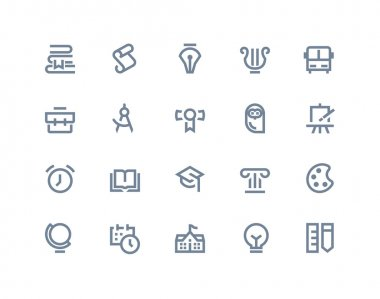 School and education icons. Line series