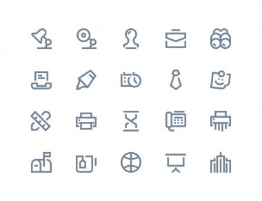 Business and office icons. Line series
