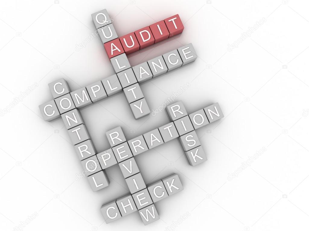 3D-Bild Audit Fragen Konzept Wort cloud Hintergrund — Stockfoto ...