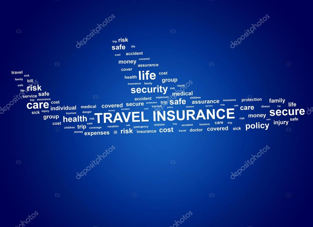 Travel insurance. Cloud tags.