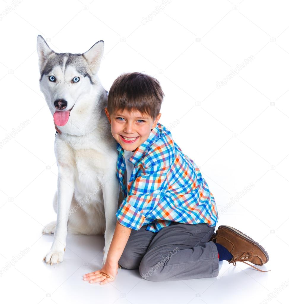 Boy with her dog husky — Stock Photo © mac_sim #109017678