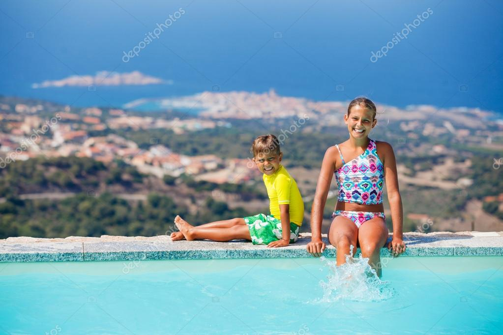 Kids at swimming pool