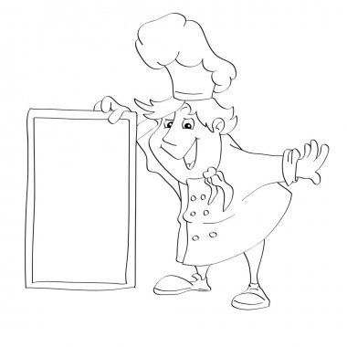 Contour for coloring of cartoon cook