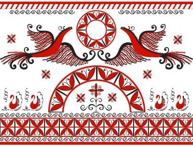 Mezensky ornament with two red firebirds