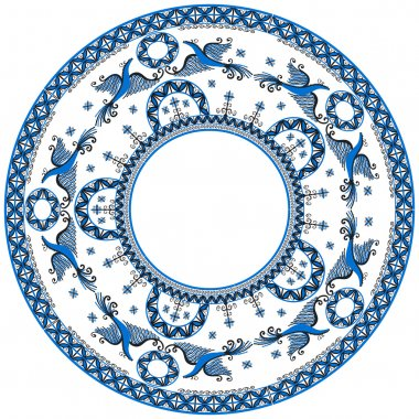 Circular ornament with Mezensky blue firebirds