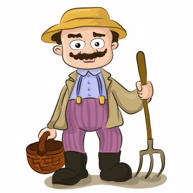 cartoon farmer with pitchfork and basket