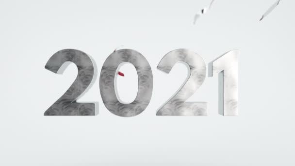 2021 Boldog Új Évet Confetti Évszakok Üdvözlet Animációs Kártya Háttér Party
