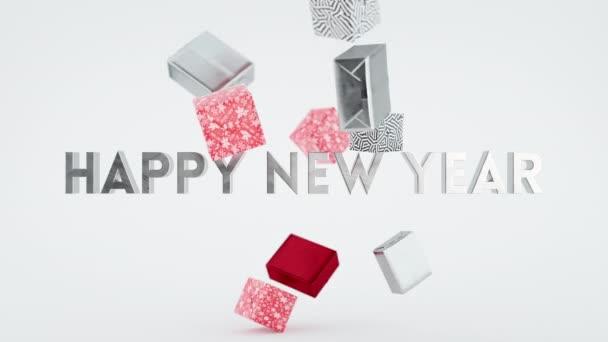 Happy New Year Seasons Zdravím dárkové krabice Fun Animation Card Party Pozadí