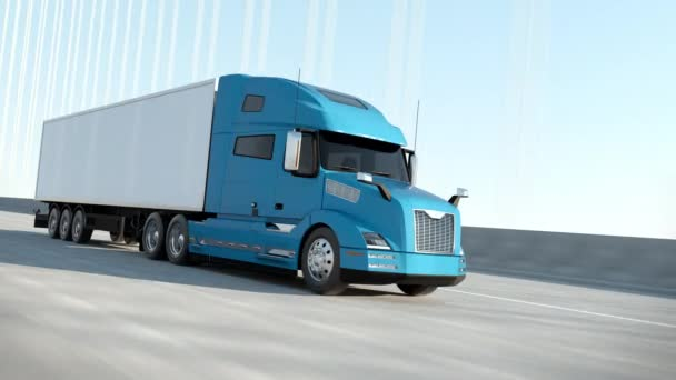 Blue Modern Big Semi Truck mit Cargo Trailer Route auf Road Logistic Delivery 4k