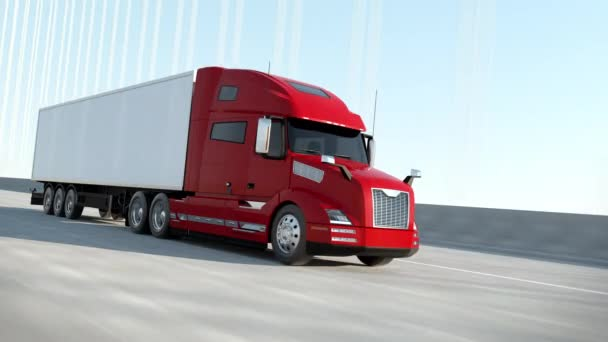 Red Modern Big Semi Truck with Cargo Trailer Route on Road Logistic Delivery 4k