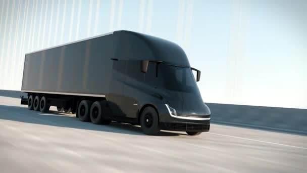 Black Modern Big Semi Truck with Cargo Trailer Route on Road Logistic Delivery