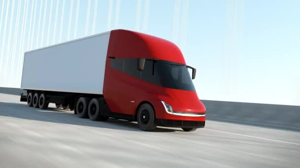 Red Modern Big Semi Truck mit Cargo Trailer Route auf Road Logistic Delivery 4k