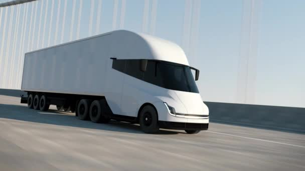 White Modern Big Semi Truck mit Cargo Trailer Route auf Road Logistic Delivery