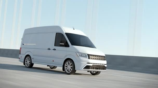Modern White Delivery Van Driving Postal Auto Cargo Product Service on Highway