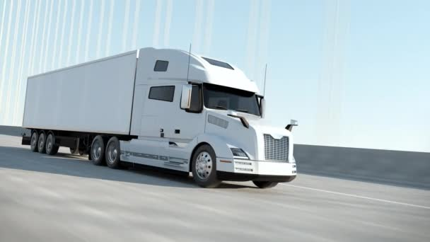 White Modern Big Semi Truck with Cargo Trailer Route on Road Logistic Delivery