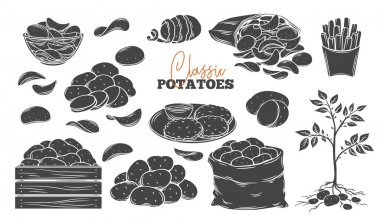 Potato products glyph icons set. Engraved monochrome chips, pancakes, french fries, whole root potatoes for farm market and shop design. Vector illustration of harvest vegetables. icon