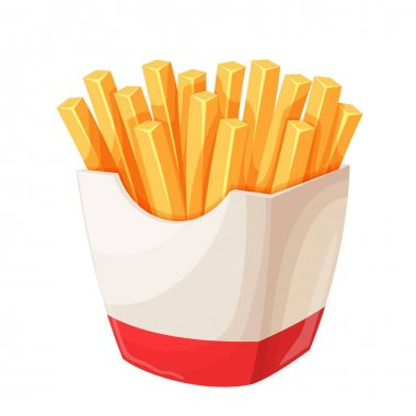 Vector french fries in carton package. Icon fast food for street cafe and cinema menu. icon