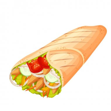 Shawarma or chicken wrap vector icon. Turkish fast food with meat and vegetables in pita bread. Meal on the grill of shawarma illustration. icon