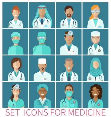 Set of avatar icons characters for medicine