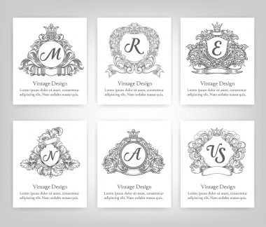 set of vintage emblems, monograms