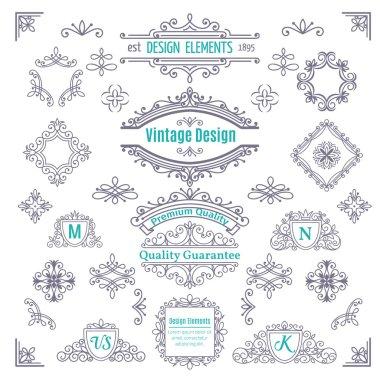 Set of Vintage Vector Line Art Calligraphic Elements .