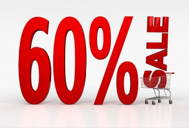 Sixty percent sale sign in shopping cart on white background