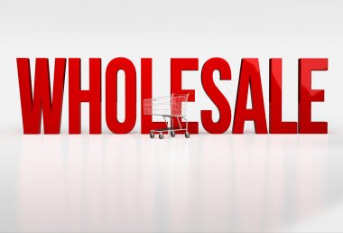 Big red word wholesale on white background next to shopping cart. 3d render stock vector