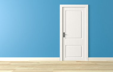 Shut white wooden door on blue wall, white wooden floor