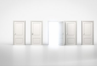 Concept of opportunity. Light shining through one door in row of