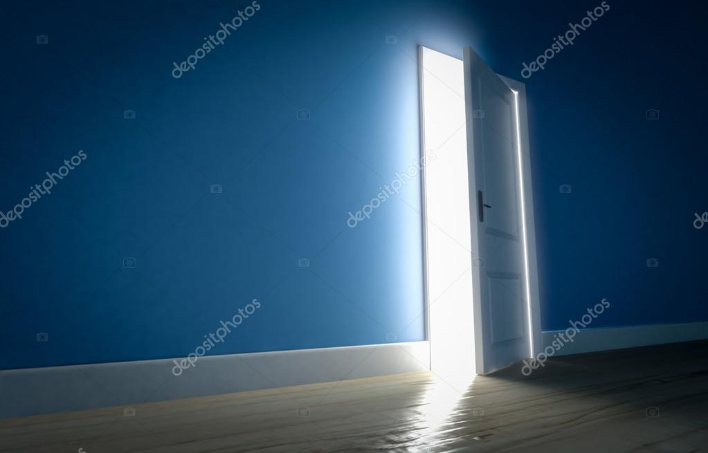 Open Door Dark Room light shining through open door in dark room with blue walls and