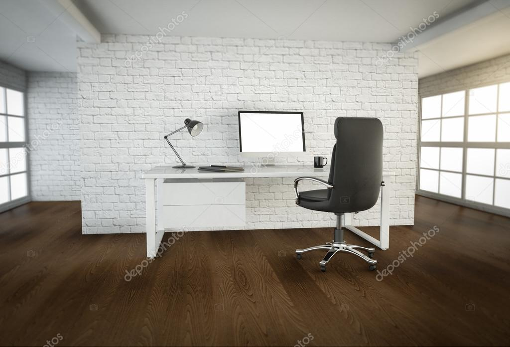 Interior de la oficina moderna con piso de madera marrón y grandes ...