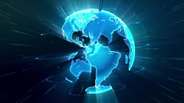 Animace rotujícího země zářící modré částic. 4k opakování bezešvé pozadí pro vysílání