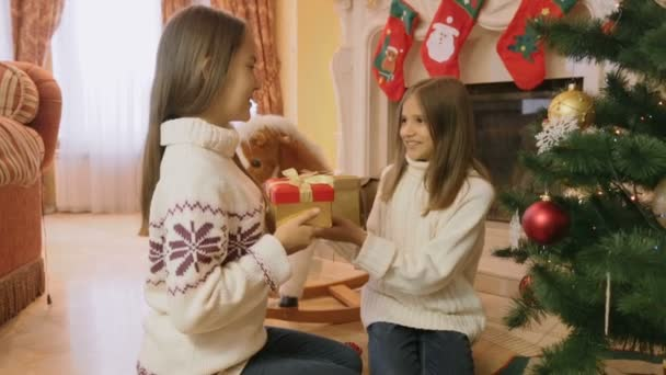 Portrait of two cheerful girls sitting on floor at living room and giving each other Christmas gifts