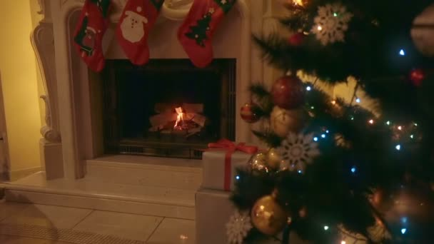 Fire inflames in fireplace at living room decorated for Christmas