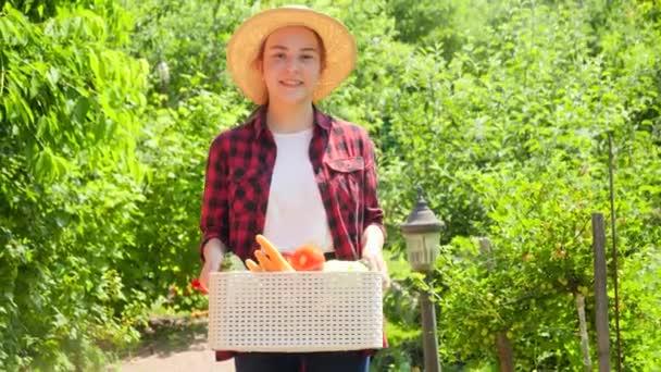 Portré boldog mosolygós női gazdáról, aki a kertben sétál és dobozt tart érett bio zöldségekkel. A kisvállalkozás fogalma és az ökológiai zöldségek termesztése a kertben