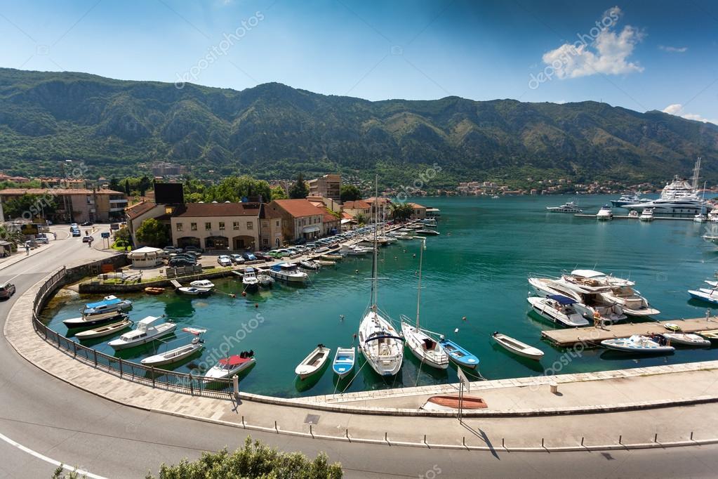 sea bay with mooring yachts at city of Kotor, Montenegro