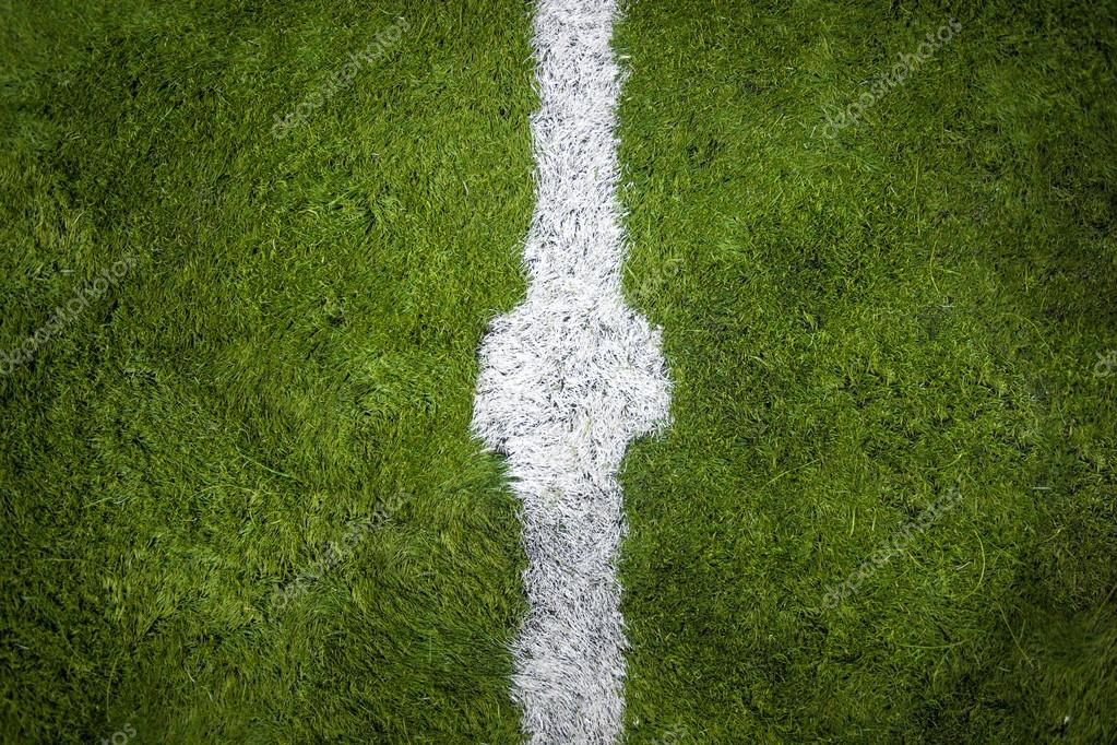 horizontal shot of marking on center of soccer field