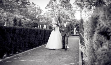 Monochrome photo of happy bride walking with father at park