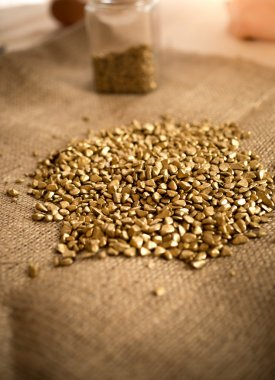 washed golden nuggets lying table covered by burlap