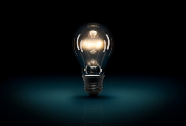 Glowing 3D light bulb on dark blue background