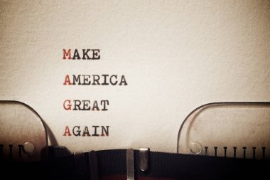 Make America great again phrase written with a typewriter.