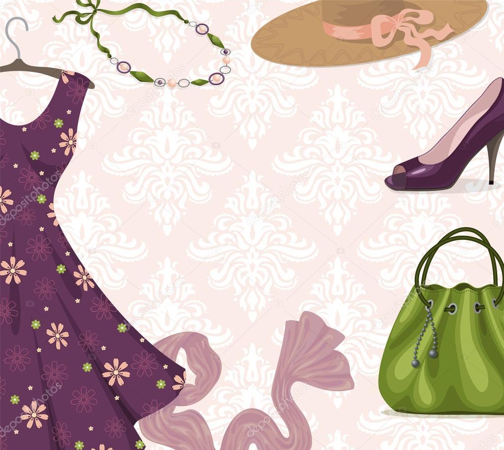d01f83fe10616d Векторний фон для одягу роздрібного бізнесу або покупок: модні, фіолетовий  романтичні сукні, намисто, взуття, сумочку, капелюх, шарф. Модний стиль.