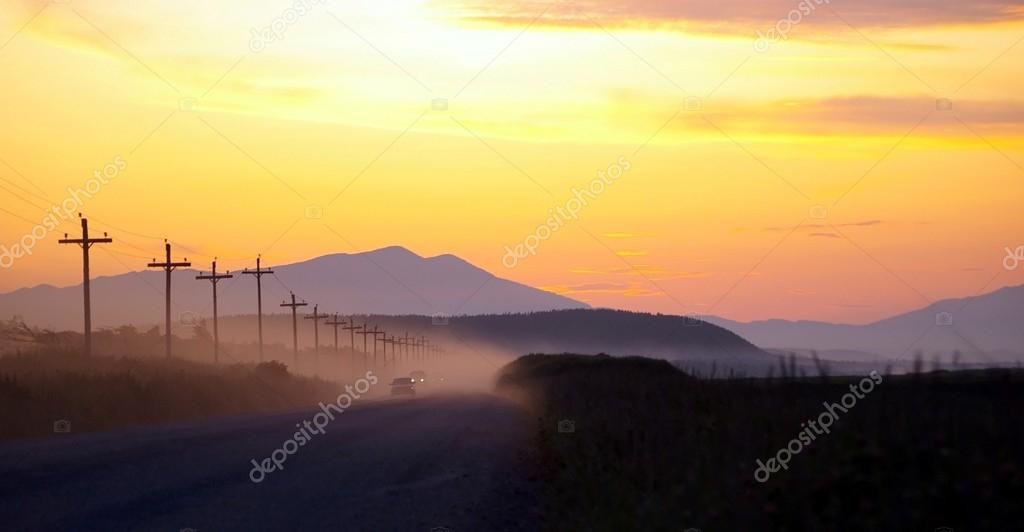 Evening road after sundown