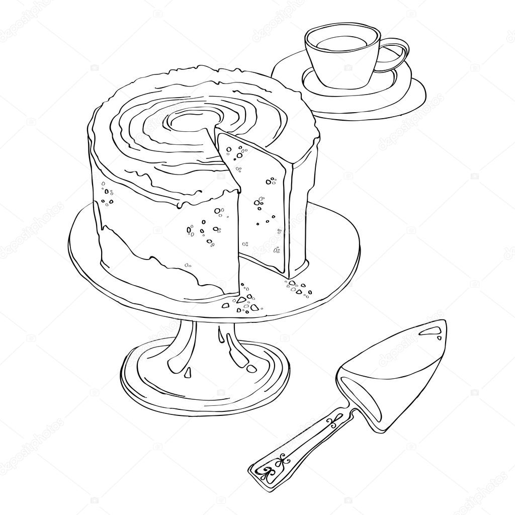 Kuchen steht auf Podest Teller — Stockvektor © may-yul #107976710